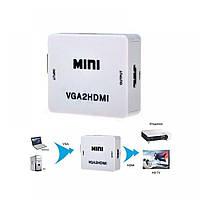 Конвертер mini VGA для перебудови в HDMI відео з аудіо Hoodia 1080P, білий, конвертер, конвертер для перебудови відео і аудіо
