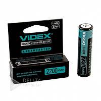 Аккумулятор Videx Li-ion 18650-R, 2200 mAh, защита mbl, 1 шт, 3.7В, аккумуляторы 2200mAh, аккумуляторы Videx