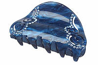 Заколка-краб Pimpinella для волос из пластика со стразами, синий, зажим для волос, краб для волос, фото 1