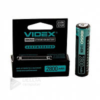 Аккумулятор Videx Li-ion 18650-R, 2800 mAh, защита mbl, 1 шт, 3.7В, аккумуляторы 2800mAh, аккумуляторы Videx
