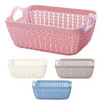 Корзина - плетенка для белья R85448, пластик, разные цвета, размер 19*14*7 см, бельевая корзина, корзинка в