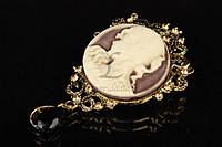 Декоративная металлическая брошь для одежды Камея бронза, брошь для украшения, брошь камея, фото 1