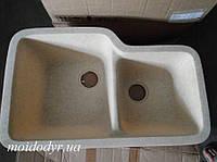 Мойка кухонная гранитная двухчашевая Sanitec (Sinmar) 420x720x200 (бежевый) под столешницу, фото 1