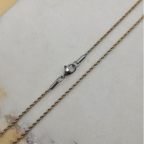 Цепочка из комбинированной стали женская веревочное плетение 50 см 176170
