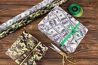 """Бумага упаковочная """"Доллар и камфляж""""  84,1x59,4см, плотность 80 г/м², бумага упаковочная, бумага для подарков"""