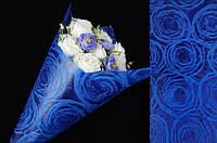 Бумага флизелиновая с узором для упаковки цветов Abutilon цена за 20шт, 57х53см, синяя, флизелиновая бумага,, фото 1