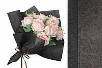 Флизелиновая бумага Alyxia для упаковки цветов, черная с золотом, 20шт, 60х53см, 250г, бумага для упаковки,