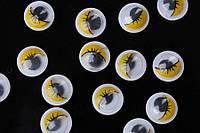 Круглые глазки для игрушек Annona с подвижным зрачком, 200шт, желтые, глазки для игрушек, глазки с подвижным