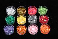 (Цена за 12шт) Набор глиттера в форме звездочек, вес каждого цвета по 5 г, цвета ассорти, глиттер для
