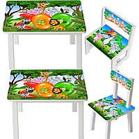 Детский деревянный столик для творчества, Столик для детей, Стол и стульчик для детей