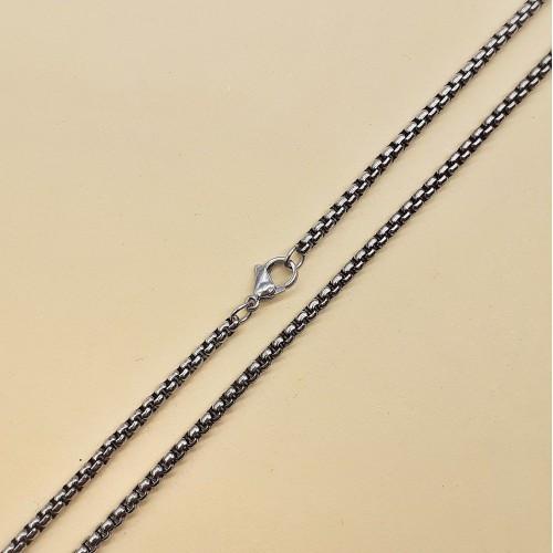 Цепочка на шею стальная с чернением плетение Ролло мужская 70 см 176173