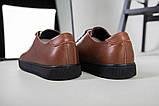Кеды мужские кожаные коричневые на черной подошве, фото 5