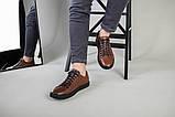 Кеды мужские кожаные коричневые на черной подошве, фото 6