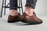 Кеды мужские кожаные коричневые на черной подошве, фото 7