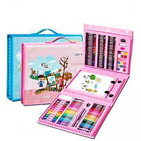 Детский набор для рисования и творчества в чемоданчике с мольбертом, набор художника 208 предметов