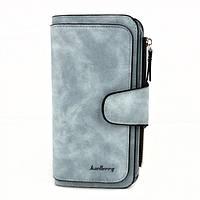 Жіночий замшевий клатч Baellerry Forever N 2345 блакитний, 14 відділень, розмір 18,8х10х2см, гаманці жіночі, гаманець