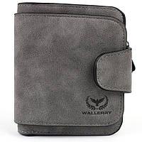 Кошелек унисекс Wallerry 2346 темно- серый, искусственная замша, размер 12х11,2х2,7см, кошелек, портмоне,, фото 1