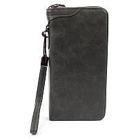 Гаманець портмоне Wallerry XW3333 темно сірий, на блискавці, еко шкіра, жіночі гаманці, портмоне, гаманець,