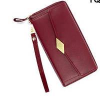 Гаманець - портмоне жіночий TQ100A Wallerry бордовий, на блискавці, PU шкіра, жіночі гаманці, портмоне жіночі