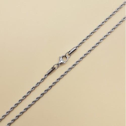 Ланцюжок натільна із сталі жіноча закручене плетіння 55 см 176174