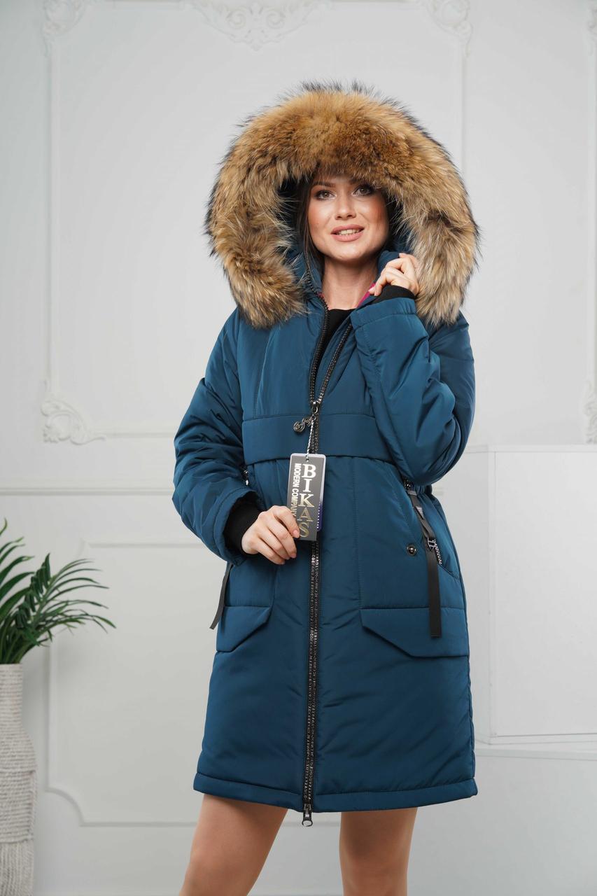Зимние женские куртки  модные  44-56 изумруд натуральный мех енот
