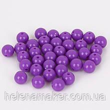 Набор пластиковых бусин 8 мм 10 шт. Цвет фиолетовый.