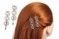 Набір металевих шпильок-невидимок Fockea для волосся зі стразами, в комплекті 2 шт, золото, заколки для волосся, неведимки