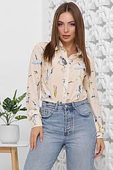 Блузка женская бежевая с длинным рукавом. Ткань супер софт. Повседневная, офисная блуза