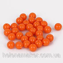 Набор пластиковых бусин 8 мм 10 шт. Цвет оранжевый.