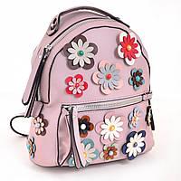 Модный женский рюкзак в цветочек из эко-кожи