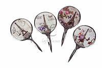 Кругле косметичне дзеркало для макіяжу Apium з ручкою, малюнок, 24шт, кишенькове, косметичне дзеркало, дзеркало кругле