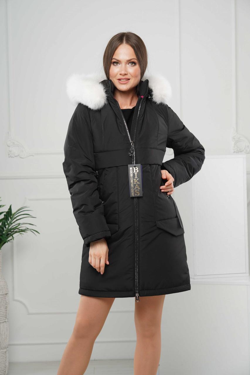 Зимові жіночі куртки модні 44-56 чорний песець-альбінос