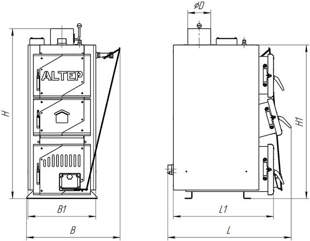 Габаритные размеры котел АЛЬТЕП CLASSIC 12 Фото