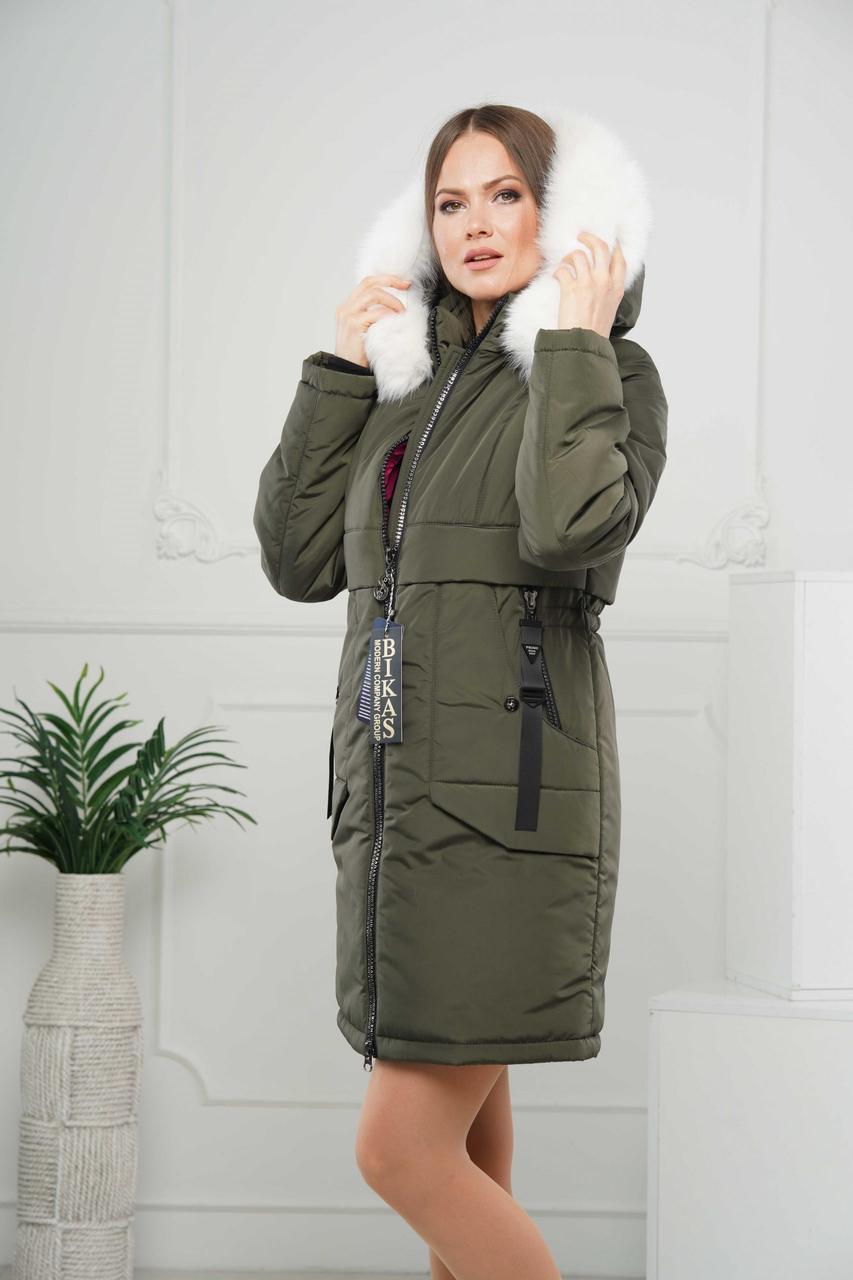 Зимние женские куртки  модные  44-56 хаки песец-альбинос