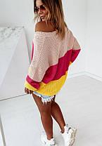 Свободный женский свитер машинная вязка в полоску, фото 2