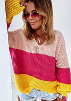 Свободный женский свитер машинная вязка в полоску, фото 3