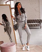 Спортивний костюм жіночий з лампасами штани і кофта на блискавці, фото 3