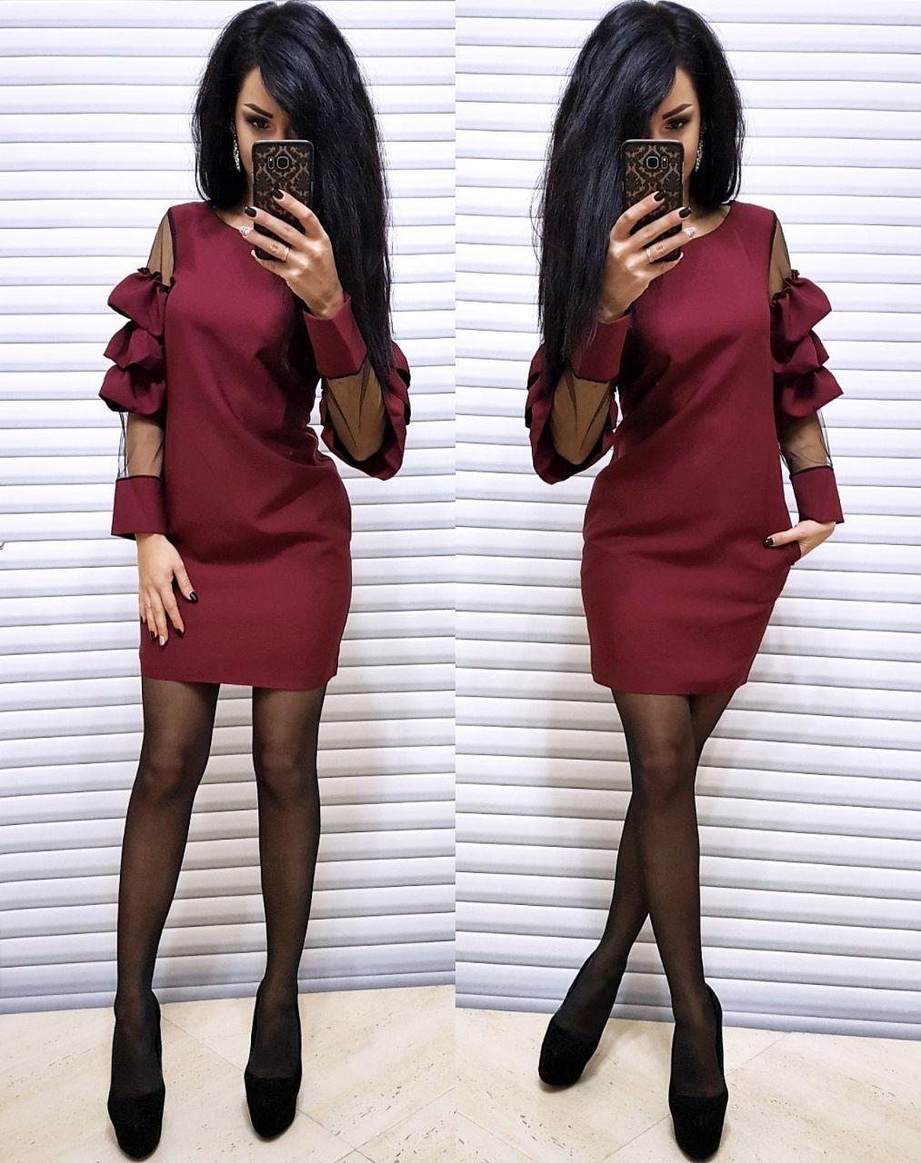 Платье короткое с необычным рукавом со вставками