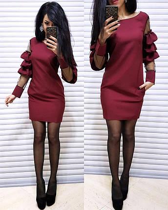 Платье короткое с необычным рукавом со вставками, фото 2