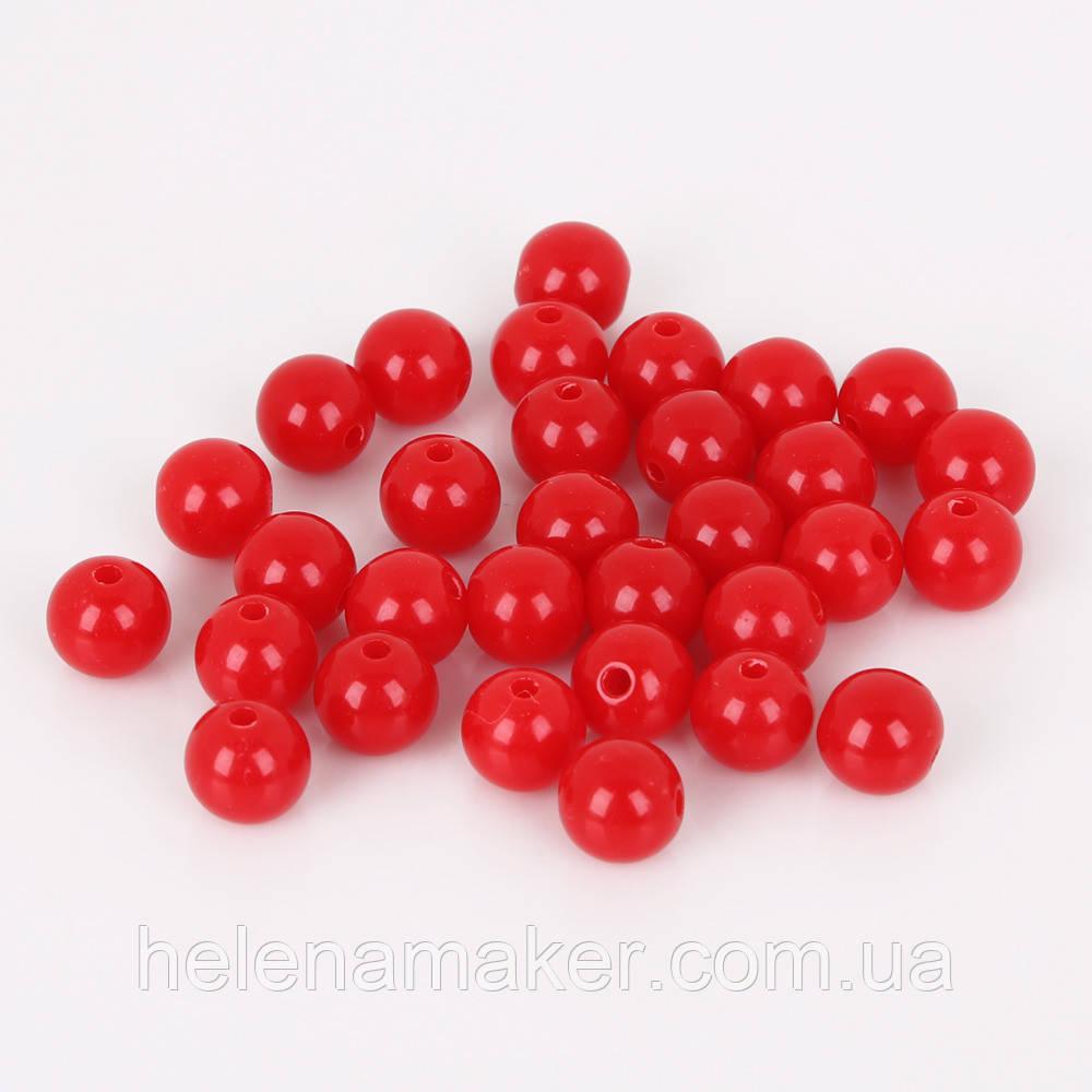 Набір пластикових бусин 8 мм 10 шт. Колір червоний.