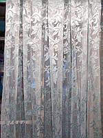 Тюль в технике Деворе, Лист, айвори