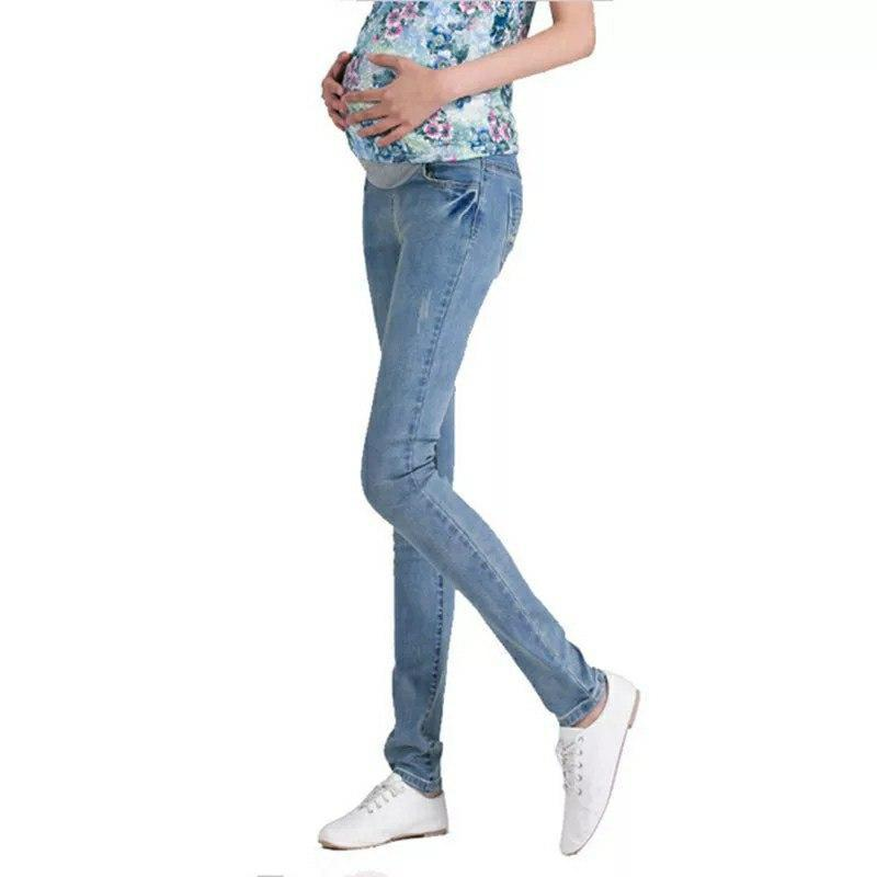 Джинсы для беременных голубые стрейчевые размер М