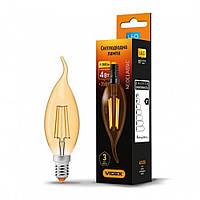 LED лампа VIDEX C37FtA филамент свеча на ветру 4W, E14 2200K, 220V, бронза, лед лампа, лампа светодиодная