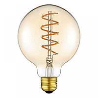 LED лампа VIDEX Filament G95ASD димерная 5W, E27 2200K, 220V, лід лампа світлодіодна лампа