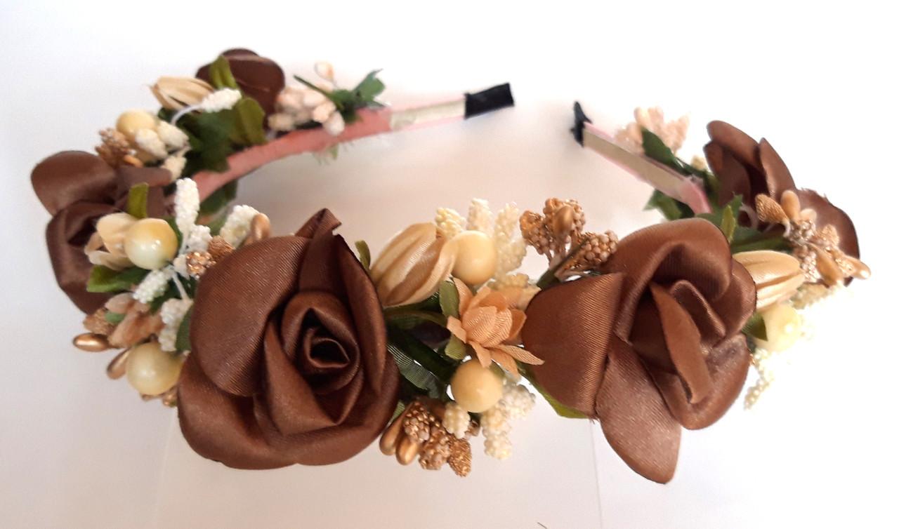 Обруч веночек ручная работа ягодки и коричневые цветы