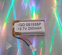 Литий - полимерный аккумулятор 051535, с платой защиты, 5x15x35 мм, 250 мАч, номинальное напряжение 3.7 В