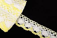 """Мереживо лляне """"Ercilla"""" для декративной обробки, жовте з білим, довжина 10м, Мереживна тасьма, Тасьма лляна"""