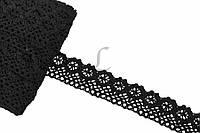 """Кружево льняное """"Openwork"""", длина 10 м, ширина 2,5 см, цвет черный, кружевная тесьма, лента из кружева"""
