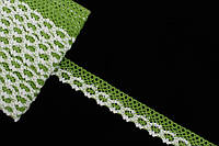 """Кружево льняное """"Openwork"""", длина 10 м, ширина 2 см, цвет зеленый с белым, кружевная тесьма, лента из кружева"""