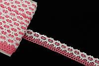"""Кружево льняное """"Openwork"""", длина 10 м, ширина 2 см, цвет розовый с белым, кружевная тесьма, лента из кружева"""